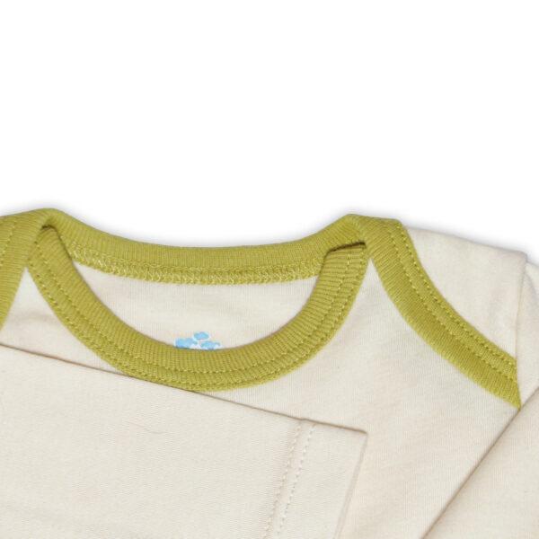 Chill n Feel - Langarm Baby-Schlupfhemd aus Bio Pima-Cotton Beige Anis-Grün (5)