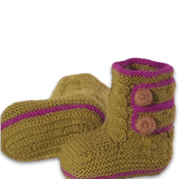 Chill n Feel - Baby Stricksocken Grün aus Baby Alpaka Wolle (4)