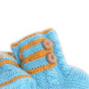 Chill n Feel - Handgestrickte Baby Boots aus 100% Baby Alpaka Eisblau Orange (2)