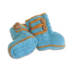 Chill n Feel - Handgestrickte Baby Boots aus 100% Baby Alpaka Eisblau Orange (4)