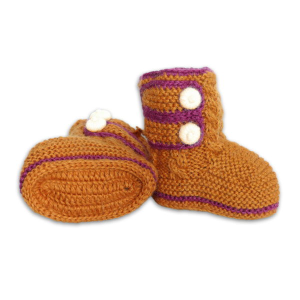 Chill n Feel - Handgestrickte Baby Boots aus 100% Baby Alpaka Orange Orchidee (2)