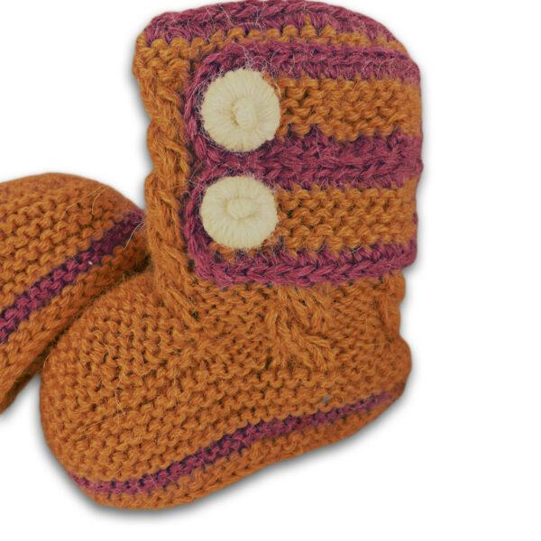 Chill n Feel - Handgestrickte Baby Boots aus 100% Baby Alpaka Orange Orchidee (3)