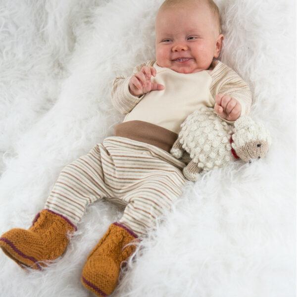 Chill n Feel - Handgestrickte Baby Boots aus 100% Baby Alpaka Orange Orchidee (4)