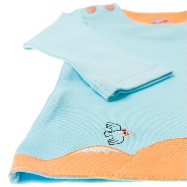 Chill n Feel - Baby-Pullover Anden-Kondor aus Bio-Pima-Baumwolle Eisblau Orange (2)