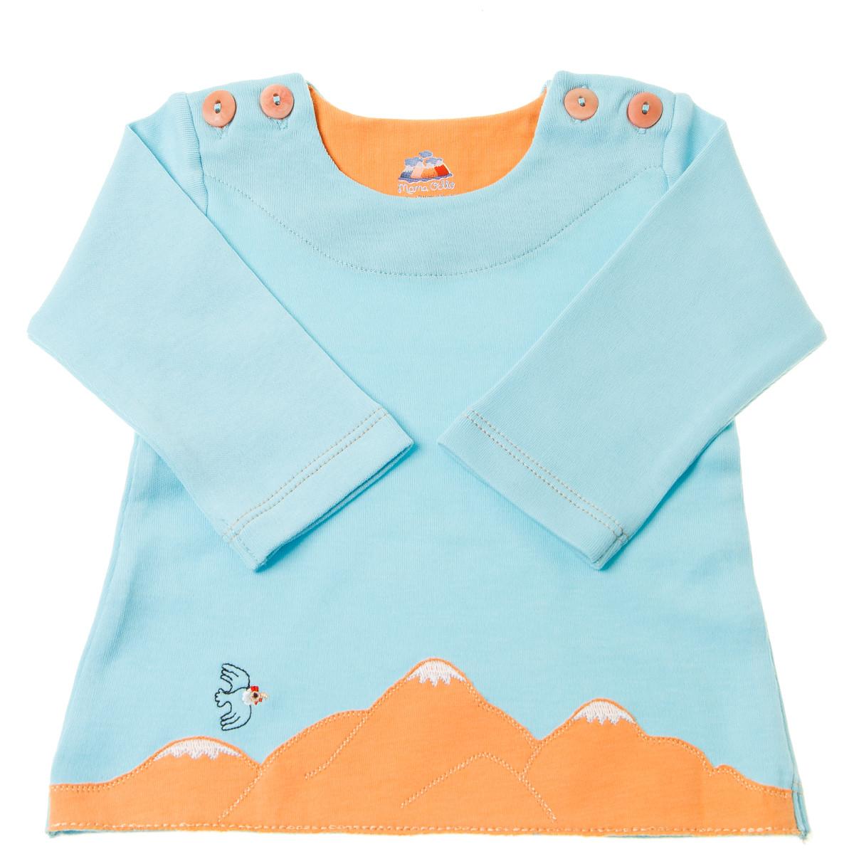 Chill n Feel - Baby-Pullover Anden-Kondor aus Bio-Pima-Baumwolle Eisblau Orange (3)