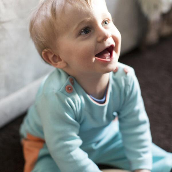 Chill n Feel - Baby-Pullover Anden-Kondor aus Bio-Pima-Baumwolle Eisblau Orange (8)
