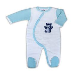 Chill n Feel - Warmer Baby-Schlafanzug Brillenbär aus Pima Biobaumwolle Weiß Eisblau (1)