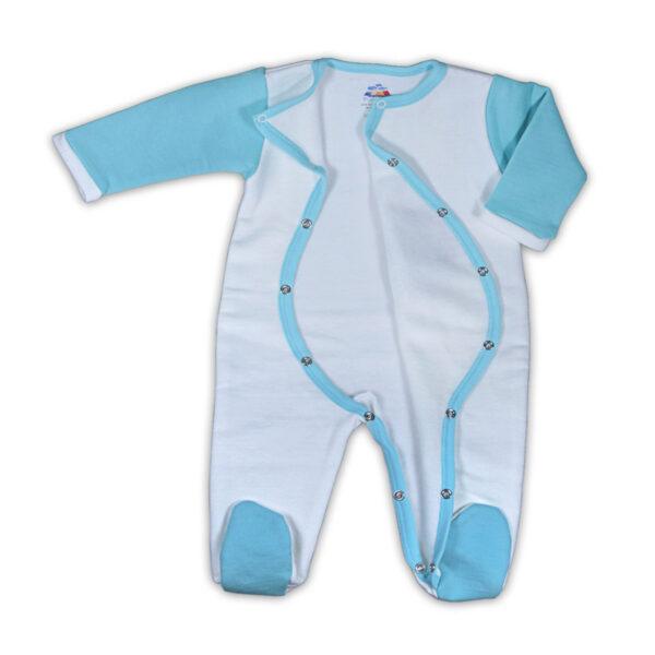 Chill n Feel - Warmer Baby-Schlafanzug Brillenbär aus Pima Biobaumwolle Weiß Eisblau (3)