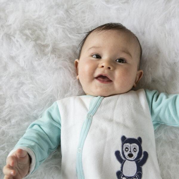 Chill n Feel - Warmer Baby-Schlafanzug Brillenbär aus Pima Biobaumwolle Weiß Eisblau (6)