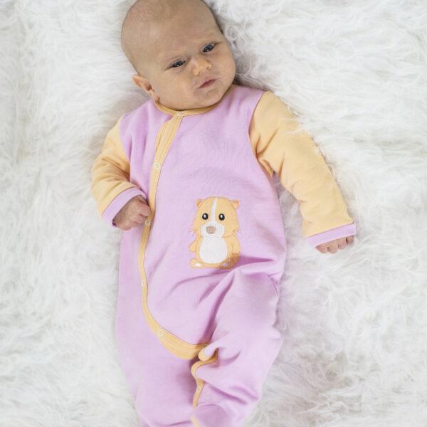 Chill n Feel - Warmer Baby-Schlafanzug Meerschweinchen aus Pima Biobaumwolle Rosé Orange (1)