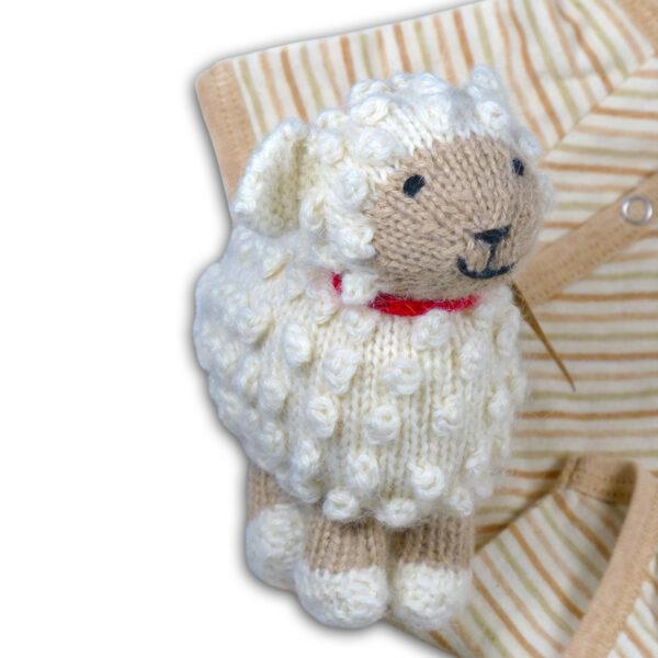 Chill n Feel - Baby Geschenkset Strick-Kuscheltier Schaf u. Bio Wickelbody Geringelt (1)
