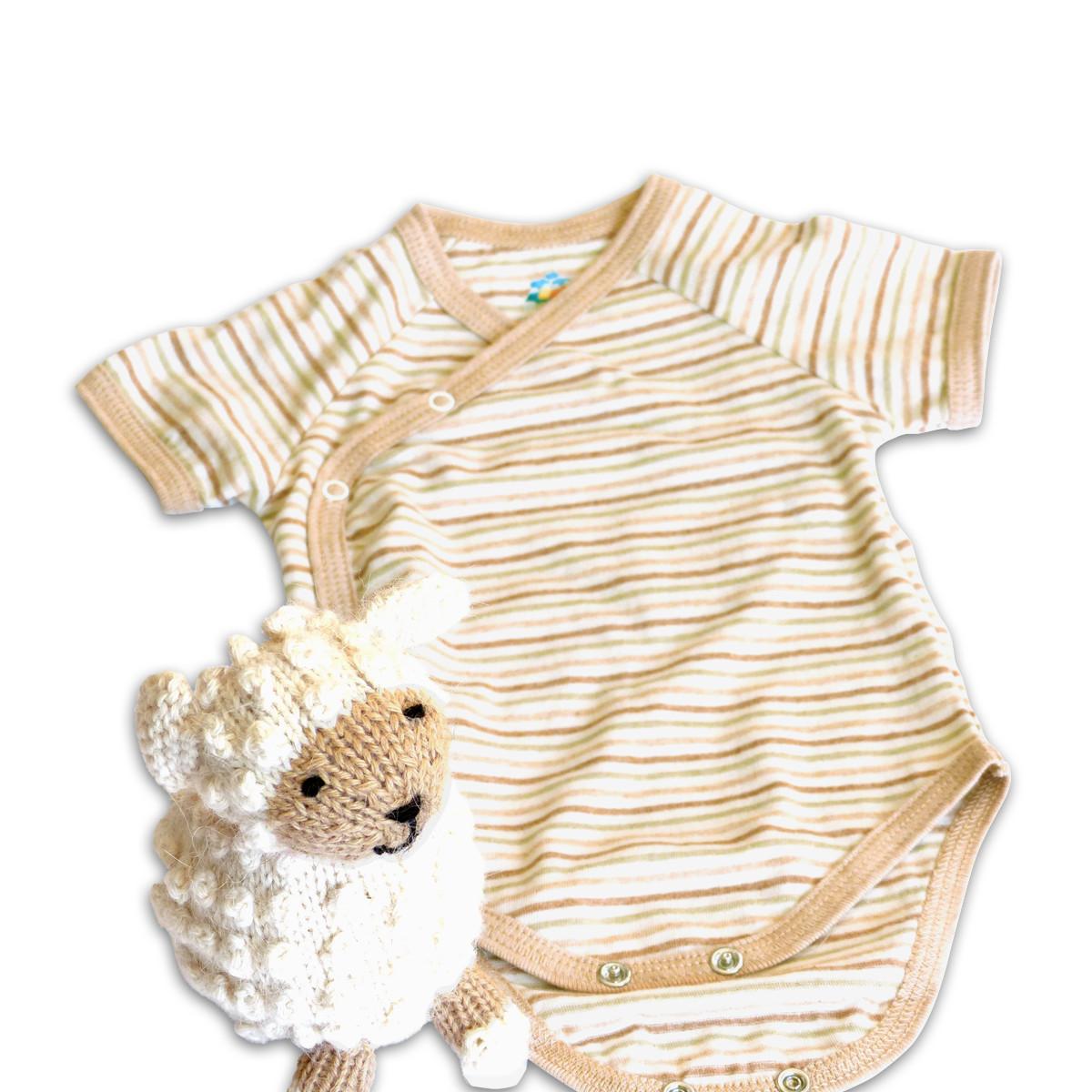 Chill n Feel - Baby Geschenkset Strick-Kuscheltier Schaf u. Bio Wickelbody Geringelt (2)