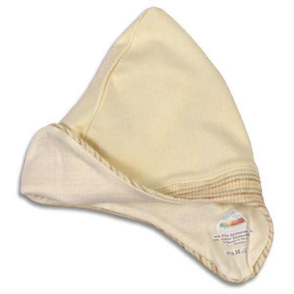 Chill n Feel - Baby-Mütze mit Ohrenschutz aus naturbelassener Biobaumwolle Beige Geringelt (7)