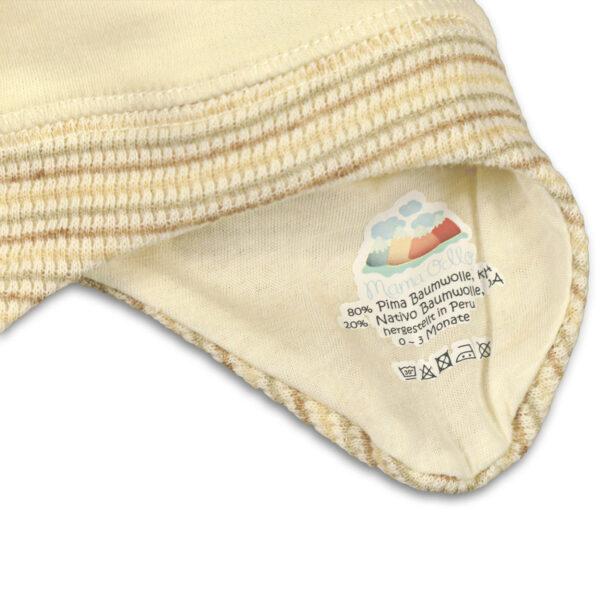 Chill n Feel - Baby-Mütze mit Ohrenschutz aus naturbelassener Biobaumwolle Beige Geringelt (8)