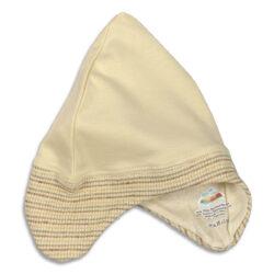 Chill n Feel - Baby-Mütze mit Ohrenschutz aus naturbelassener Biobaumwolle Beige Geringelt (9)
