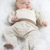 Chill n Feel - Babyhose mit Fuß und Bauchbund aus naturfarbener Baumwolle Gestreift Braun (1)