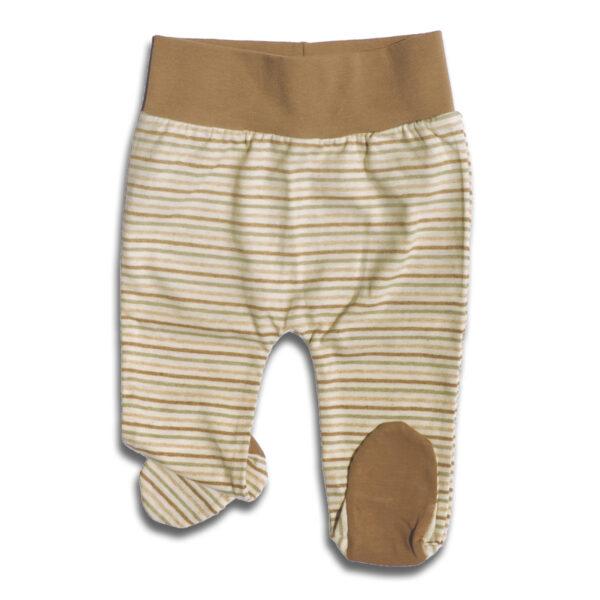 Chill n Feel - Babyhose mit Fuß und Bauchbund aus naturfarbener Baumwolle Gestreift Braun (2)