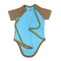 Chill n Feel - Kurzarm-Kimono Body aus Pima Bio-Baumwolle Eisblau Braun (13)
