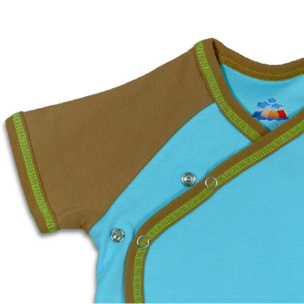 Chill n Feel - Kurzarm-Kimono Body aus Pima Bio-Baumwolle Eisblau Braun (5)