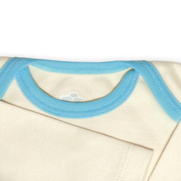 Chill n Feel - Langarm Baby-Schlupfhemd aus Bio Pima-Cotton Beige Eisblau (1)