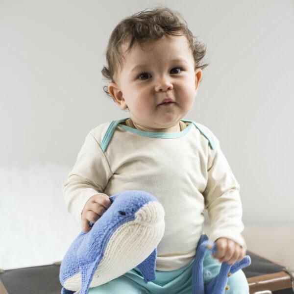Chill n Feel - Langarm Baby-Schlupfhemd aus Bio Pima-Cotton Beige Eisblau (5)