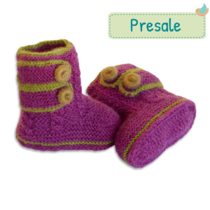 Faire Baby-Boots aus Baby Alpaka Wolle lila Presale (3)