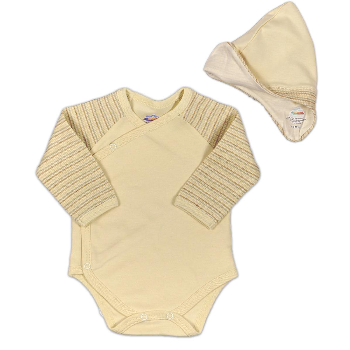 Chill n Feel - Baby-Set Body u. Mütze aus Bio Pima-Baumwolle Beige Geringelt (1)