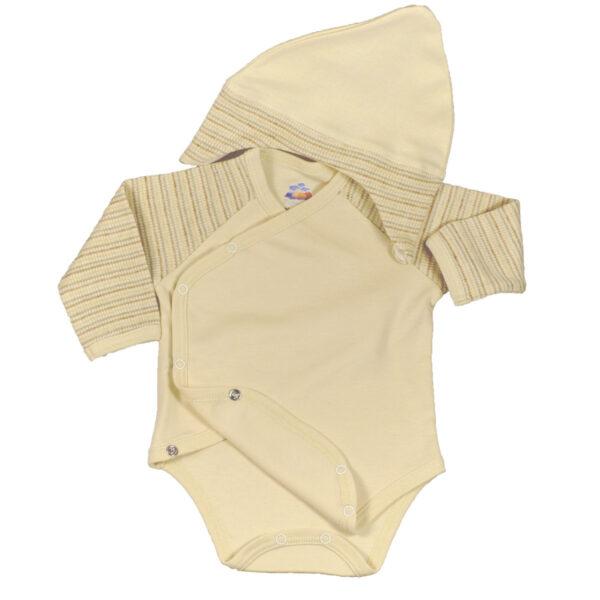 Chill n Feel - Baby-Set Body u. Mütze aus Bio Pima-Baumwolle Beige Geringelt (2)