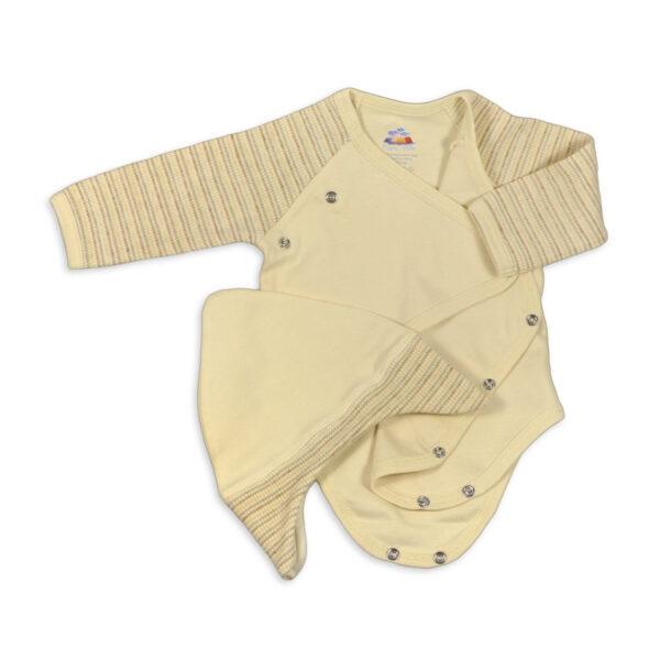 Chill n Feel - Baby-Set Body u. Mütze aus Bio Pima-Baumwolle Beige Geringelt (3)