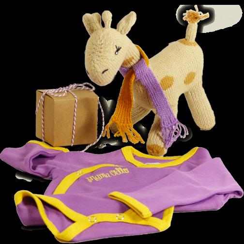 Besonderes Babygeschenk Giraffe u. Wickelbody Vegane Seide (3r)