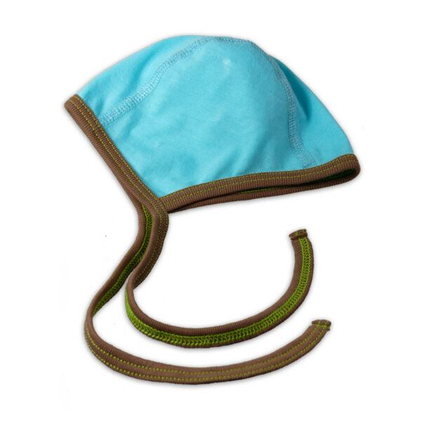 Chill n Feel - Häubchen für Frühchen und Neugeborene aus Pima Cotton kbA Eisblau Braun (1)