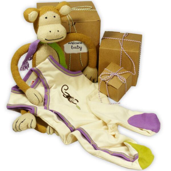Chill n Feel - Originelles Geburtsgeschenk Affe u. Ärmellos-Strampler aus Pima Baumwolle (1)