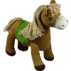Braunes Bio Kuscheltier Pferd aus echter Handarbeit