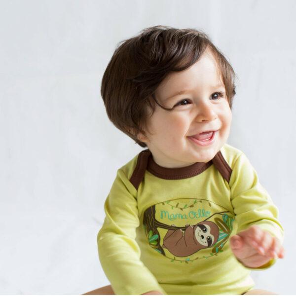 Chill n Feel - Baby Body Pima Cotton Grün Braun Faultier Bio Qualität (5)