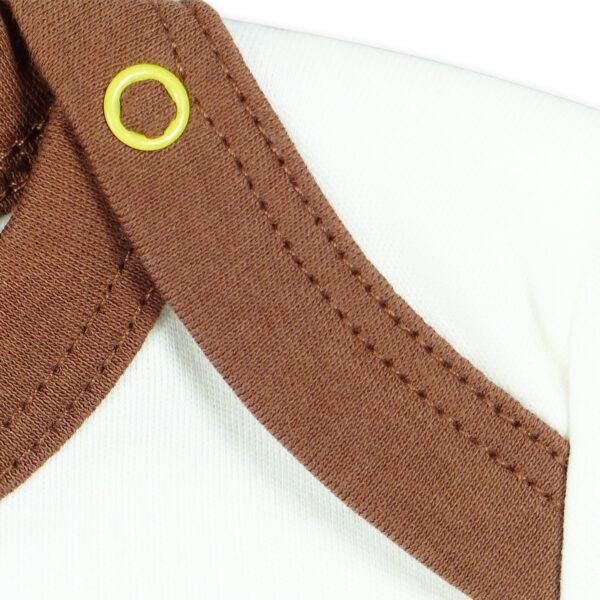 Chill n Feel - Kurzarm Baby-Body Kondor in Premium Pima Qualität Weiß Braun (2)