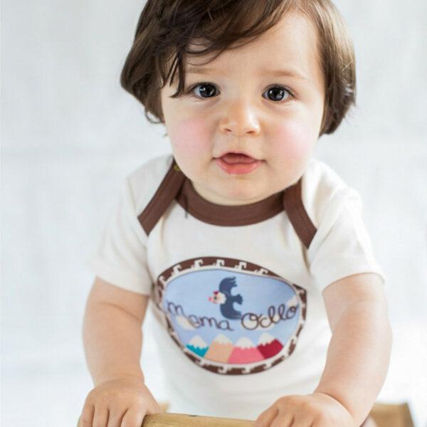 Chill n Feel - Kurzarm Baby-Body Kondor in Premium Pima Qualität Weiß Braun (4)
