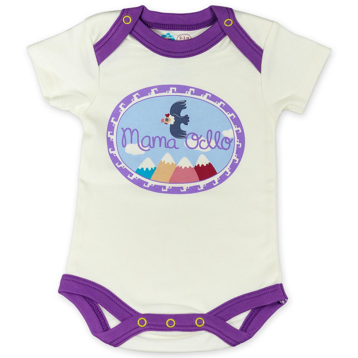 Chill n Feel - Kurzarm Baby-Body Kondor in Premium Pima Qualität Weiß Pflaume (1)