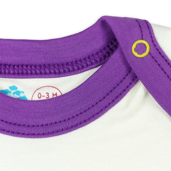Chill n Feel - Kurzarm Baby-Body Kondor in Premium Pima Qualität Weiß Pflaume (2)