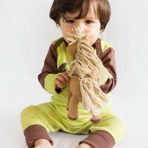 Chill n Feel - Strampler Faultier aus Pima-Baumwolle mit Umschlagbündchen Grün Braun (8)