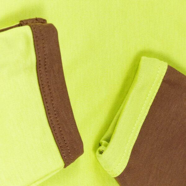 Faultier Baby Strampler mit Einfassung in Braun und Grün