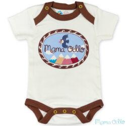 Mama Ocllo - Kurzarm Baby-Body Kondor in Premium Pima Qualität Weiß Grün (1)
