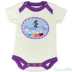 Mama Ocllo - Kurzarm Baby-Body Kondor in Premium Pima Qualität Weiß Pflaume (2)