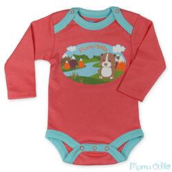 """Mama Ocllo - Langarm Baby-Body """"Meerschweinchen"""" aus kbA-Pimabaumwolle Pfirsich Blau (1)"""