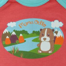"""Mama Ocllo - Langarm Baby-Body """"Meerschweinchen"""" aus kbA-Pimabaumwolle Pfirsich Blau (4)"""