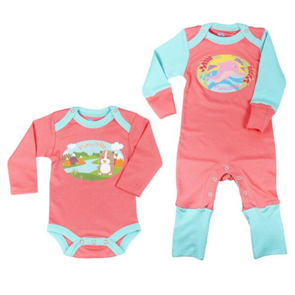 Chill n Feel - Babyanzug lang aus Pima Baumwolle_Koralle (2)