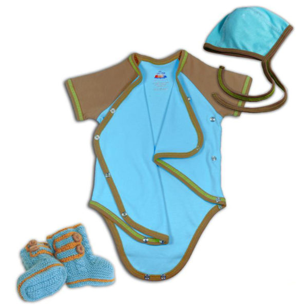 Chill n Feel - Erstausstattung Wickelbody, Baby Häubchen, Boots in Eisblau (4)