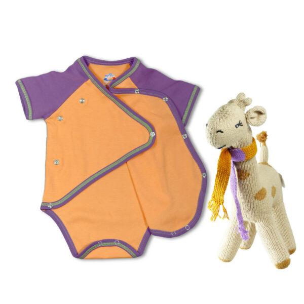 Chill n Feel - Geschenk für Sommerbaby_Wickelbody_orange_Giraffe (1)