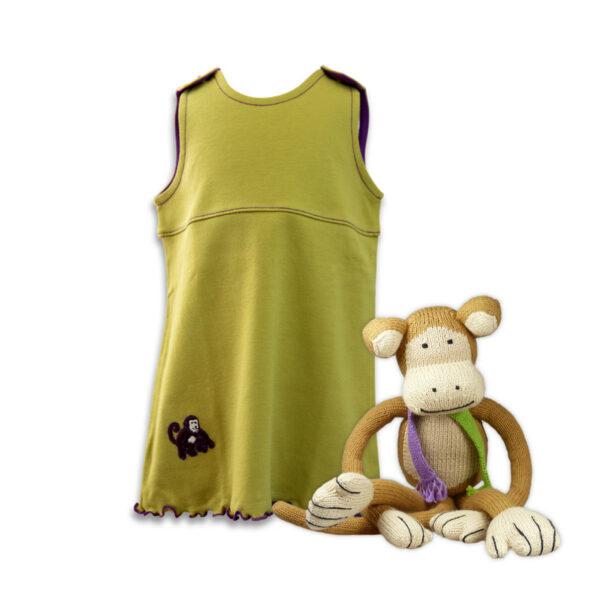Chill n Feel - Baby-Mädchen Outfit Rainforest Strick-Affe und Pima Kleid Tunika (4)