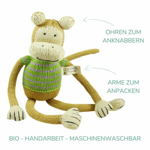 Lustiger Kuscheltier Affe 32 cm mit langen Armen aus Bio Baumwolle