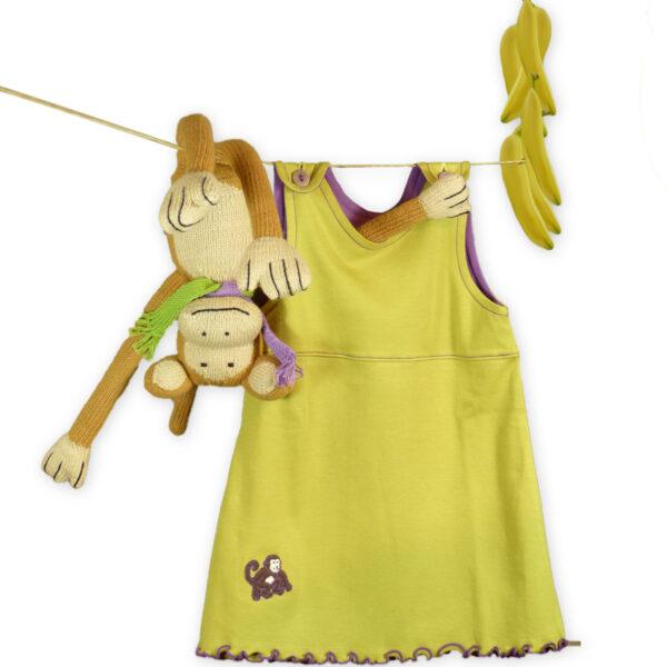 """Baby-Mädchen Outfit """"Rainforest"""": Strick-Affe und Kleid Grün/Lila"""